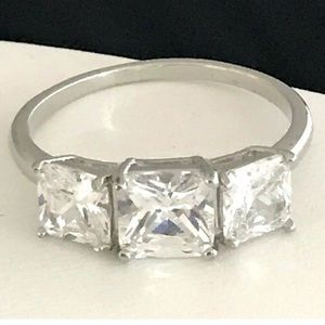 3 Stone Simulated Diamond Engagement Style Ring 3d